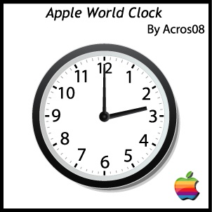 apple world theme clock