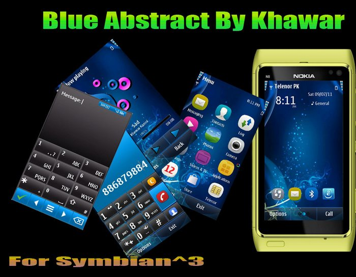 abstract blue mobile theme for s3 mobiles