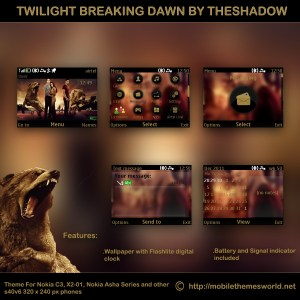 Twilight Breaking Dawn movie theme for Nokia C3, X2-01 & Asha 200, 201