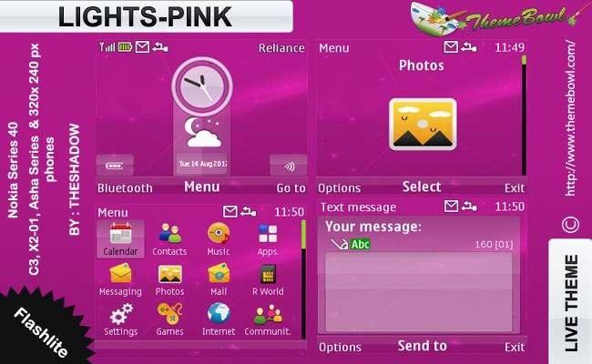 Lights Pink theme for Nokia C3, X2-01 & Asha 200, 201, 302 phones