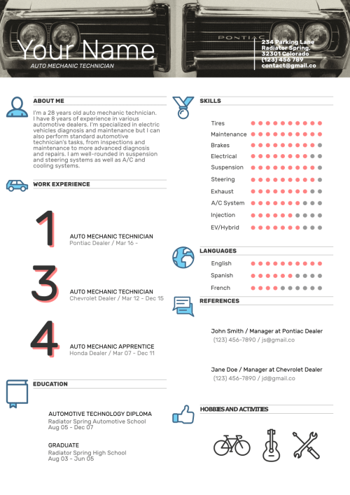 auto mechanic resume template 1 - Mechanic Resume Template