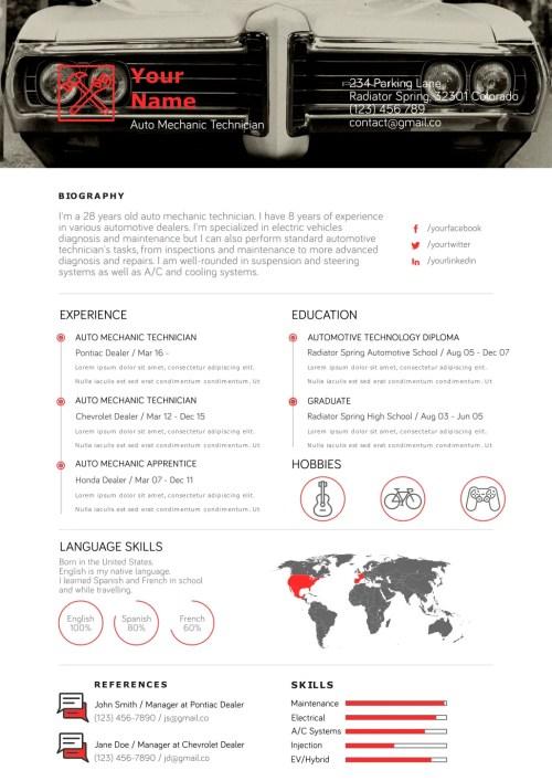 Auto Mechanic Resume Template 2