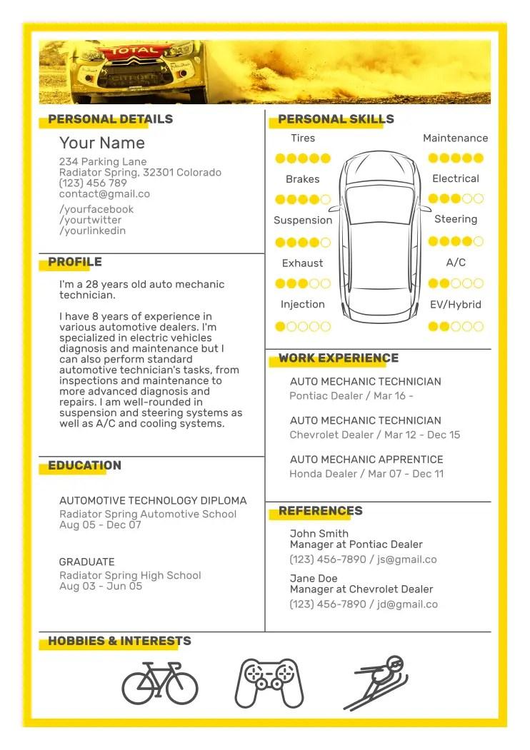 auto mechanic resume templates