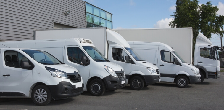 Multiple white commercial vans parked side by side