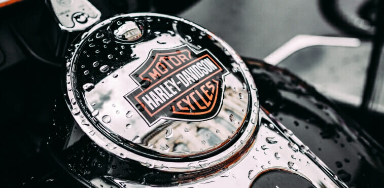 Harley Davidson emblem on a gas tank