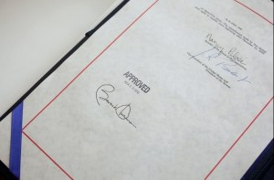 Barack Obama's signature on the Affordable Care Act