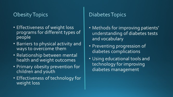 Priority Topics for Obesity and Diabetes Research - The