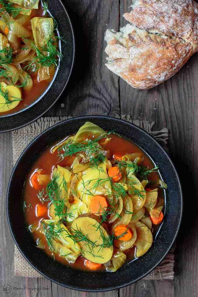 Mediterranean Vegan Cabbage Soup -Three Ways | The