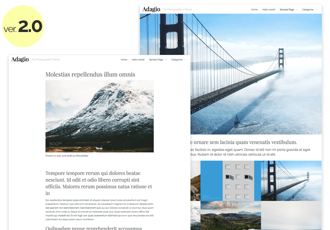 Adagio – Photographer's WordPress Theme