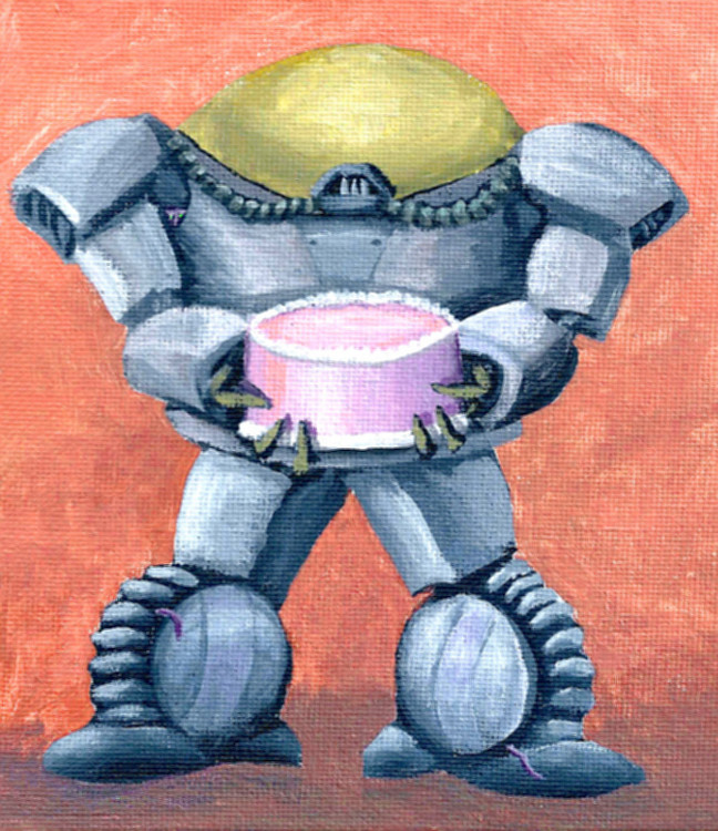 """Of Cakes and Robots"" A short story by Mary E. Lowd. Read online at Theme of Absence . com. Illustration by Tim Bougger"