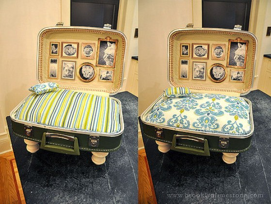 Find yourself a vintage thrift store and make this shabby chic suitcase cat bed. | www.themeowplace.com