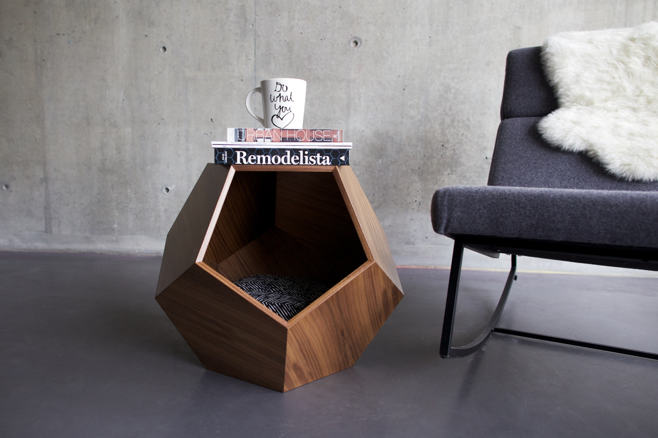Doesn't this coffee table just look darling? It's actually a cat bed for pampered felines. | www.themeowplace.com #petproducts #cats #beds #modern #luxury