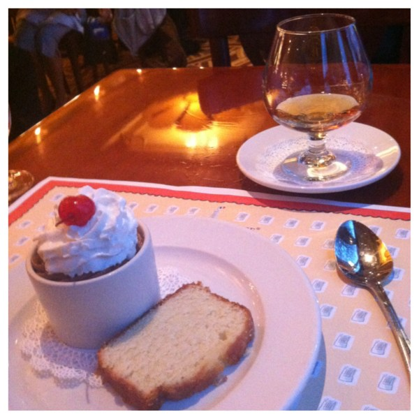 Chocolate Mousse topped with Whipped Cream and a glass of Grand Marnier