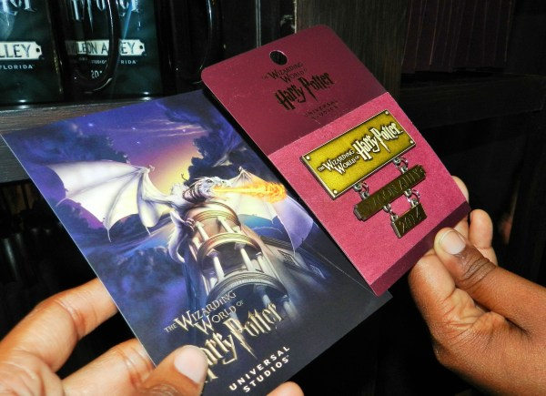 Diagon Alley Grand Opening Post card and pin