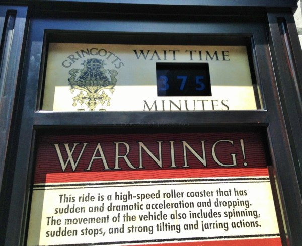 Diagon Alley: Gringotts wait time