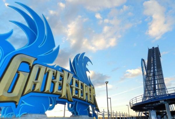 Gate Keeper at Cedar Point. Blue Roller Coaster.