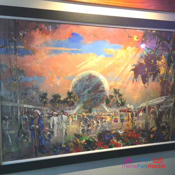Epcot Festival of the Arts artwork display.