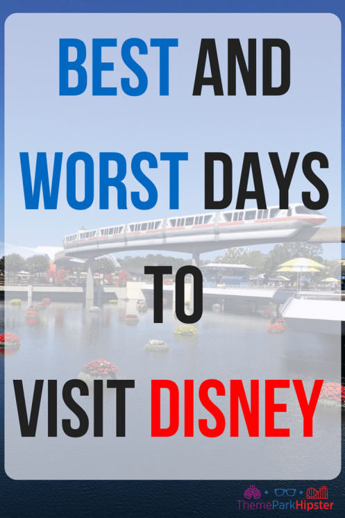 Best and worst days to visit DISNEY WORLD. Epcot monorail riding above lagoon.