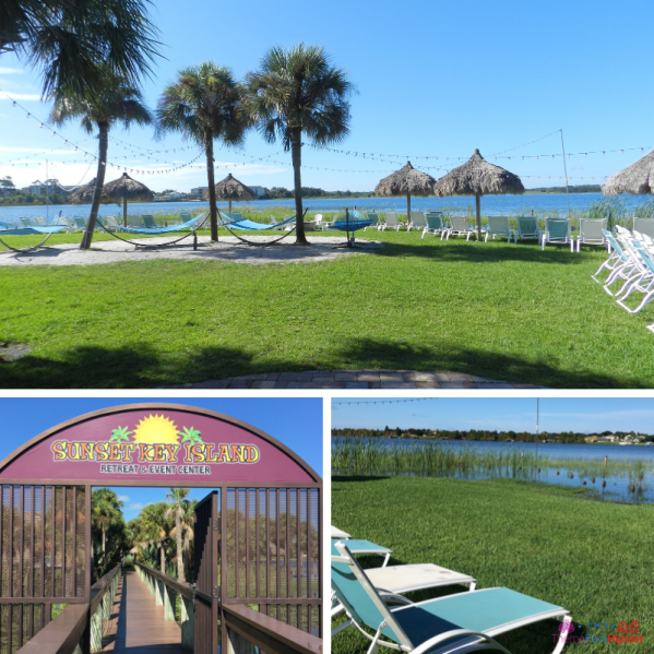 Westgate Lakes Resort Villa Orlando. Relaxing island surrounded by Big Sand Lake with canopies.