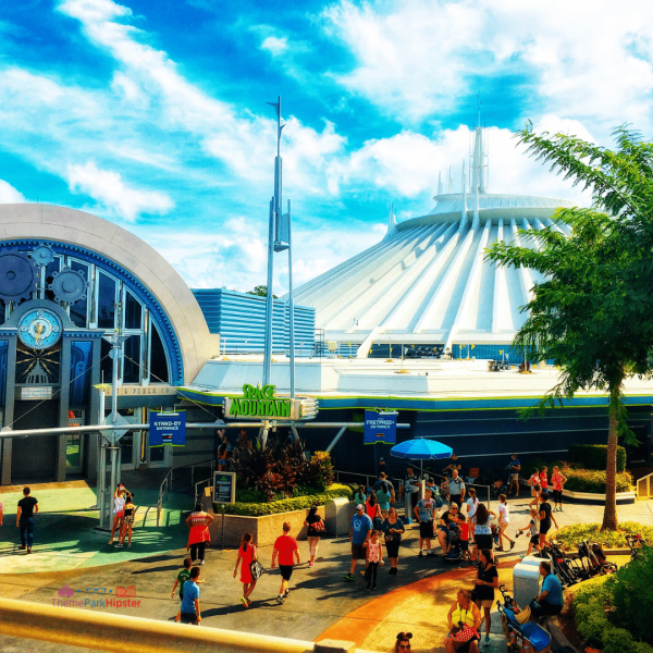 Tomorrowland with white Space Mountain attraction. Magic Kingdom Secrets