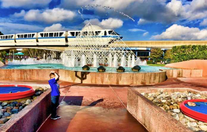 Jumping Fountains and Monorail at Epcot