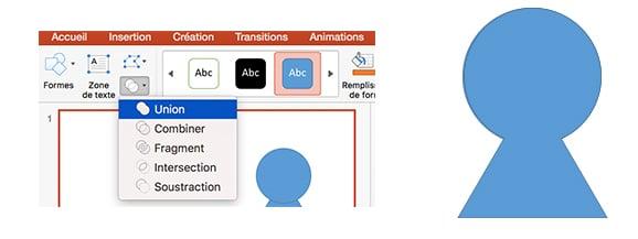 formes combinaison powerpoint union