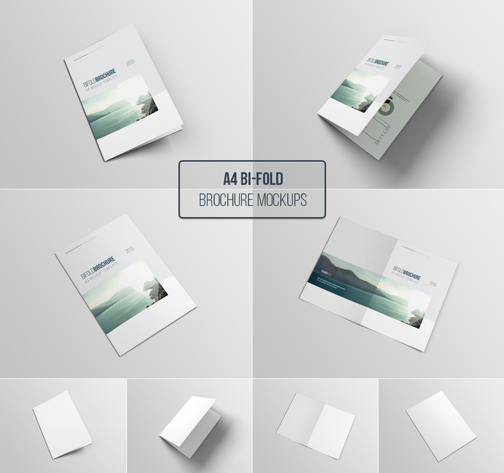 A wonderful psd mockup so you can present the best designs to your customers. A4 Bifold Brochure Mockup