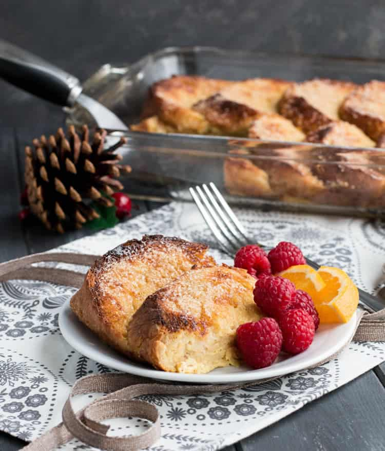 Overnight Eggnog French Toast. Easy, festive, make ahead breakfast. Hearty slices of bread baked in a creamy eggnog custard with a crunchy sugar topping!