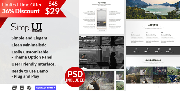 SimplUI - One Page Clean Parallax Responsive WordPress Theme