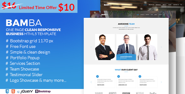 Bamba – One Page Clean Responsive Business HTML5 Template