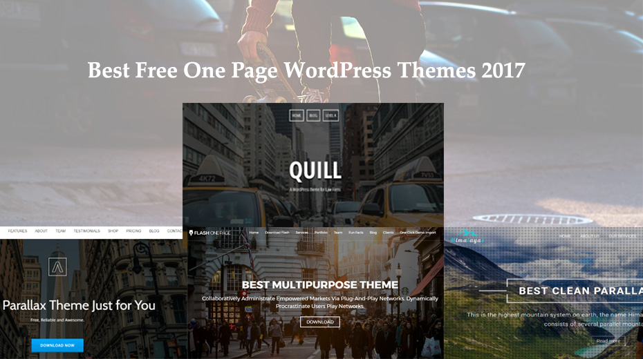10+ Best free one page wordpress themes in 2017