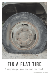 Stuck on the side of the road with a flat?  I hope not!  But, in case you ever are.. .learn 3 simple ways to fix a flat tire (2 don't involve changing it which is awesome!).  | DIY Car Maintenance | how to fix a flat tire | car preparedness |