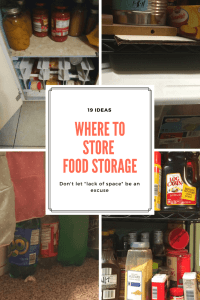 Are you wondering where to store your food storage? Read through these 19 ideas which can work for large and small homes. Most of the ideas are great for those living in apartments and small spaces. | where to store food storage | food storage organization | how to store food |