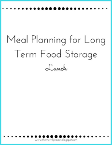 | food storage meal plan | food storage recipes | food storage shopping list |