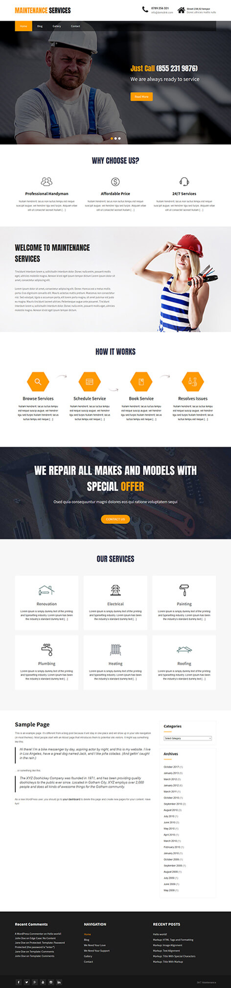 free renovation wordpress theme