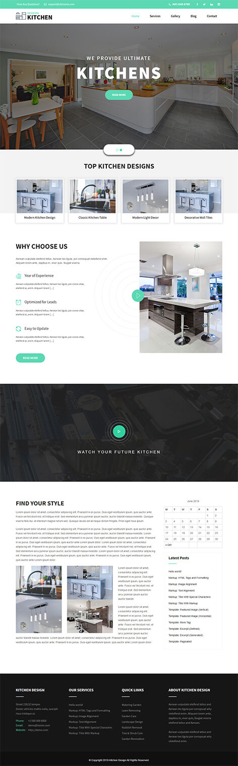 free kitchen cabinet WordPress theme