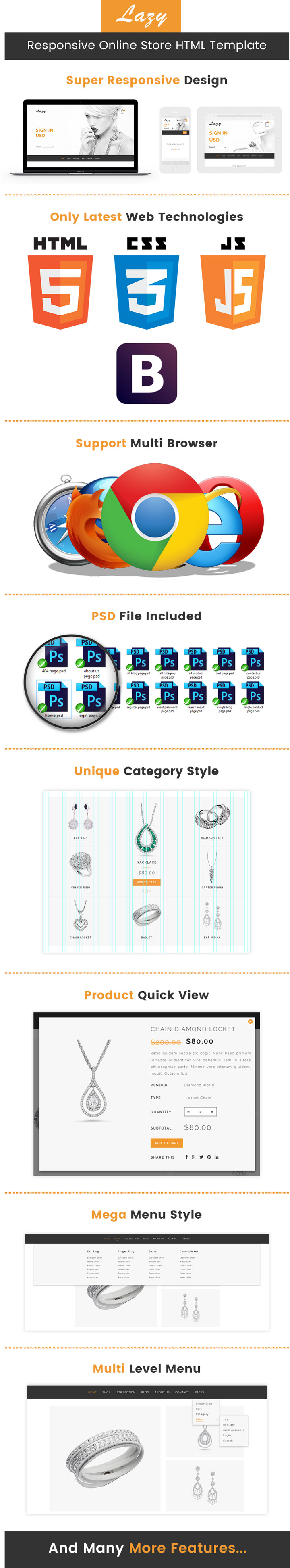 Lazy - Responsive Jewellery Online Store HTML Template   ThemeTidy