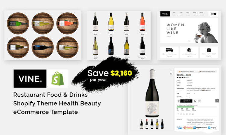Vine - Restaurant Food & Drinks Shopify Theme Health Beauty eCommerce Template