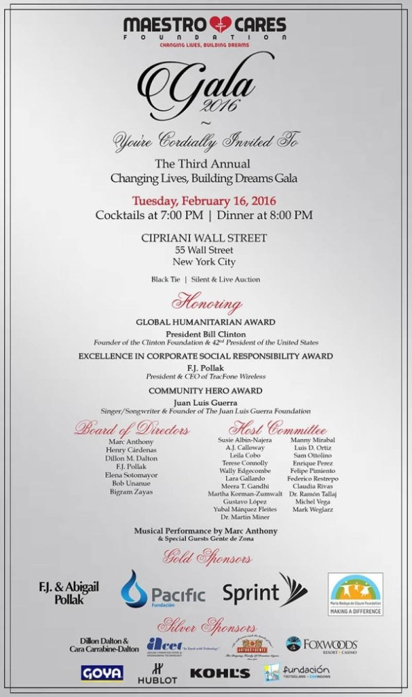 Maestro Cares Invitation 2016 Gala