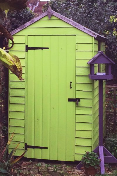Bright colours can work on your shed.