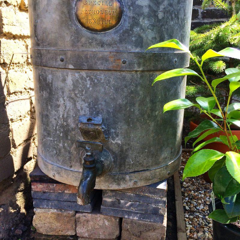 Vintage galvanised water butt