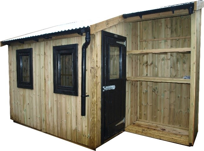 The Gardener Tin Hat shed from the Posh Shed Company