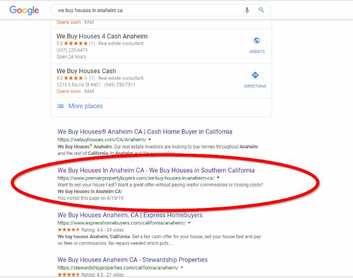 PremierPropertyBuyers Current Google Ranking1