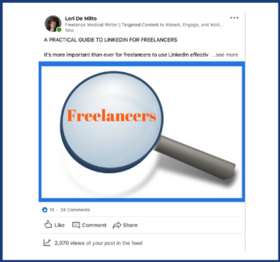 LinkedIn activity with my guide to LinkedIn for freelancers