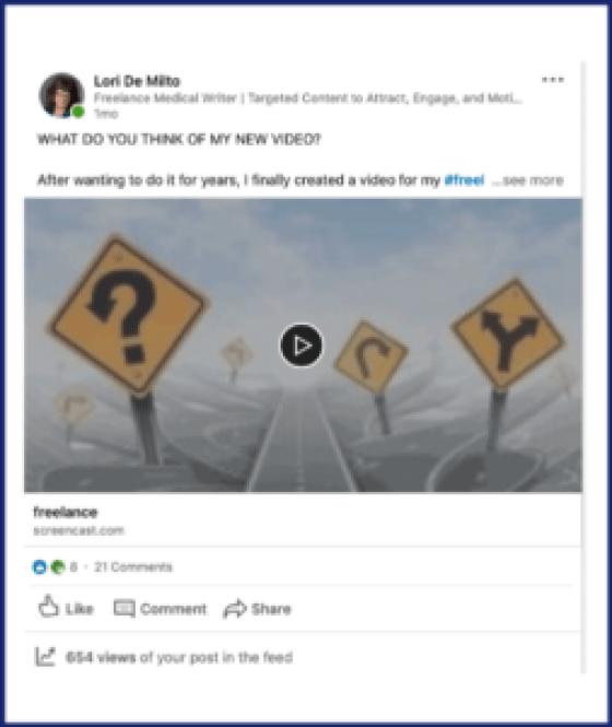 My video LinkedIn activity