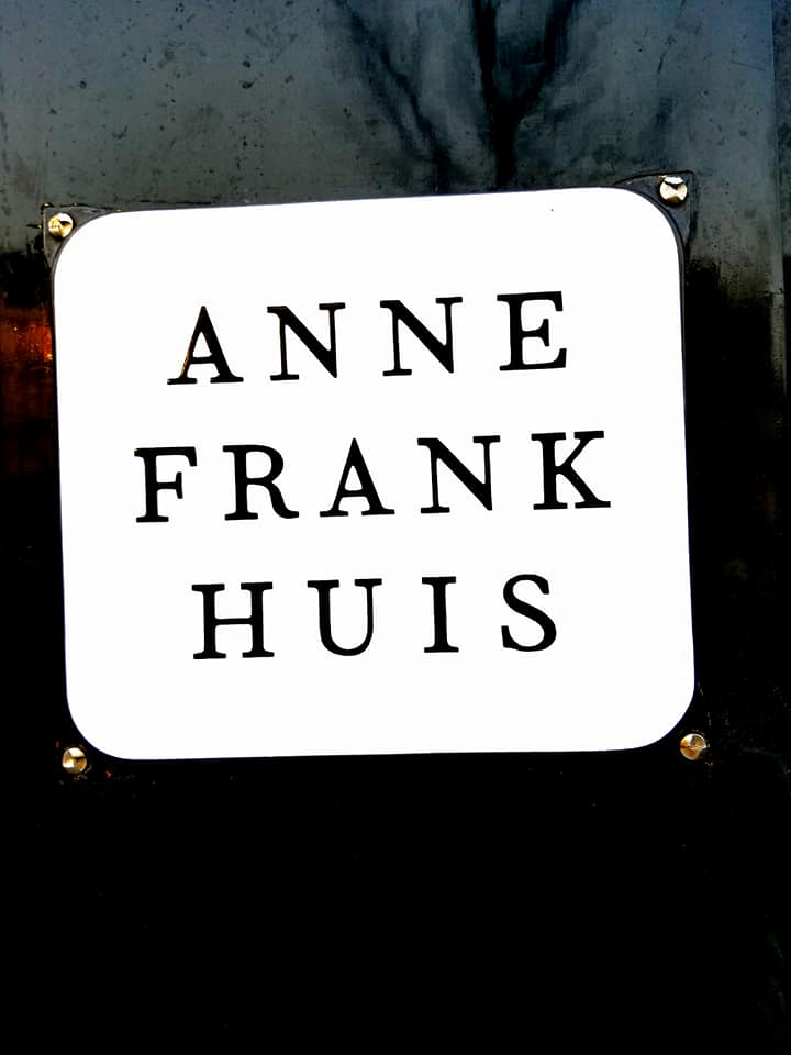 Black and white sign 'Anne Frank Huis'