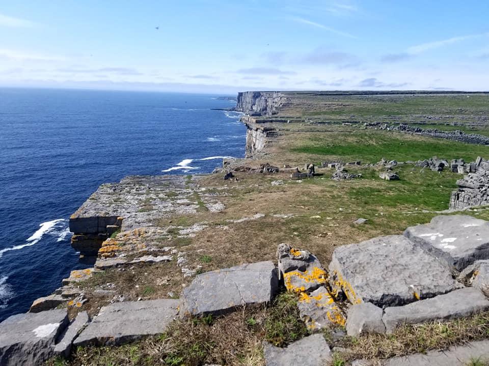 Steep, jagged cliffs of Dun Aonghasa, Inis Mor, Ireland.