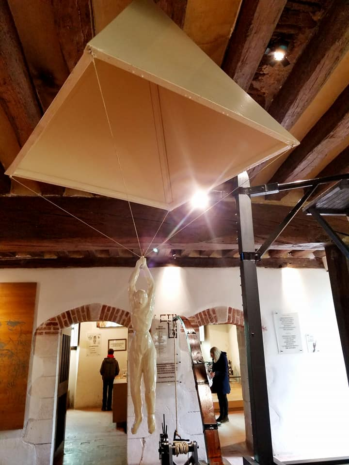 One of da Vinci's flying inventions in his workshop in Amboise, France.