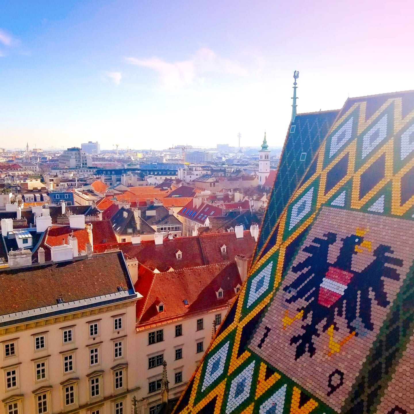 Colorful tiled roof of St. Stephen's Cathedral in Vienna
