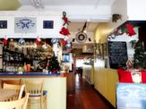 Interior of Wahoo's Patio & Bistro in St. George's, Bermuda during Christmas time.